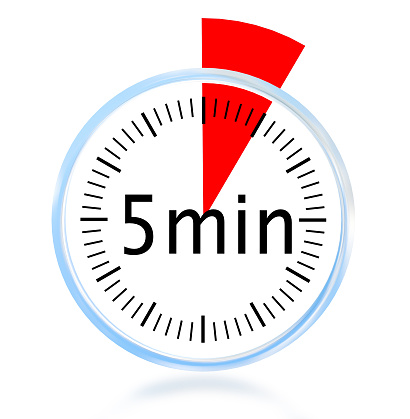 istock 5 minute min clock isolated background  red triangle for  minutes - 3d rendering 1218684969