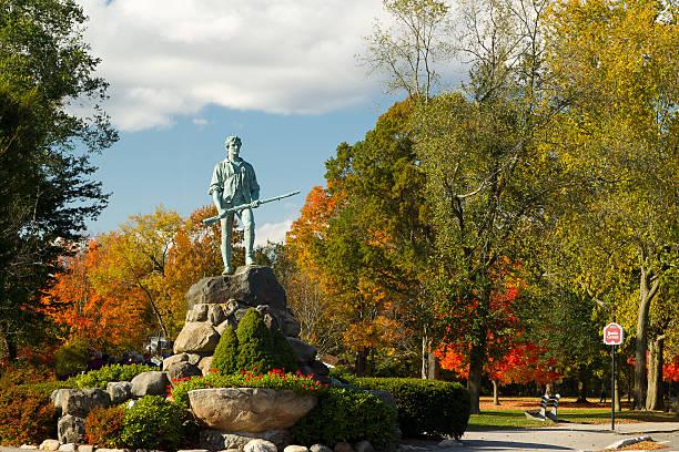 Minuteman Statue & Battle Green stock photo