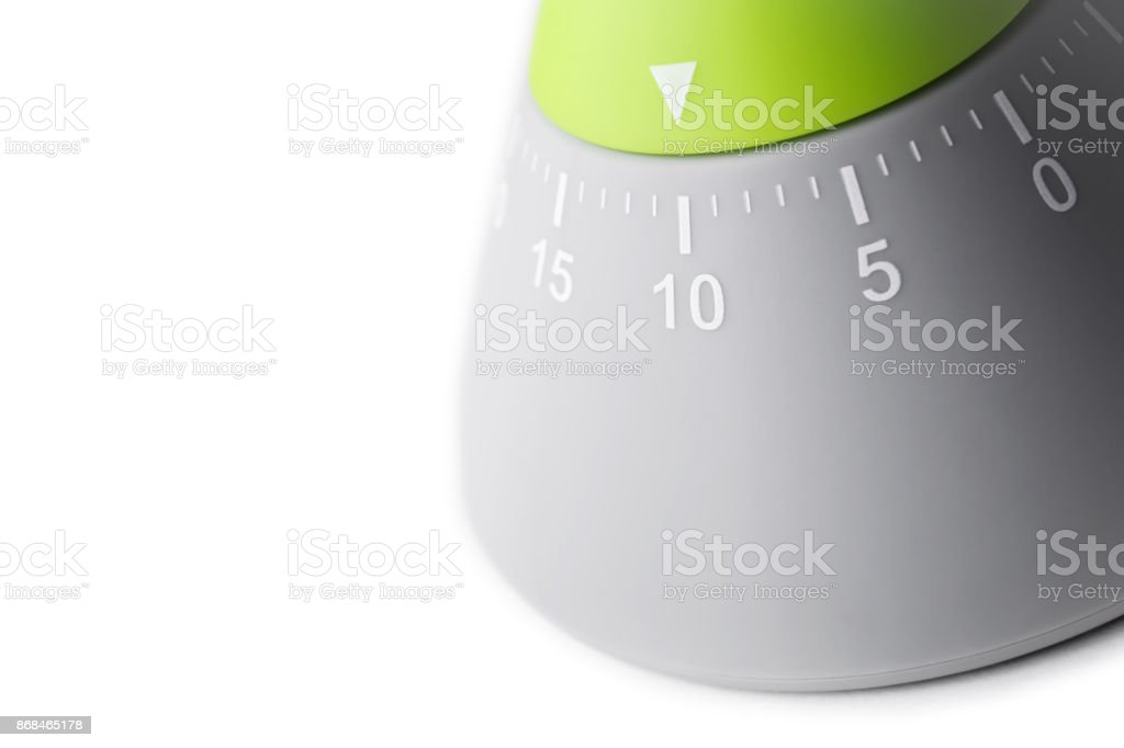 10 Minutes - Analog Kitchen Egg Timer Isolated On White Background stock photo