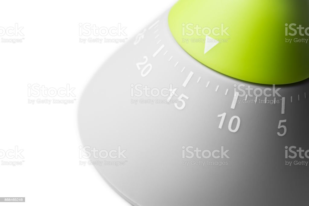 15 Minutes - Analog Kitchen Egg Timer Isolated On White Background stock photo