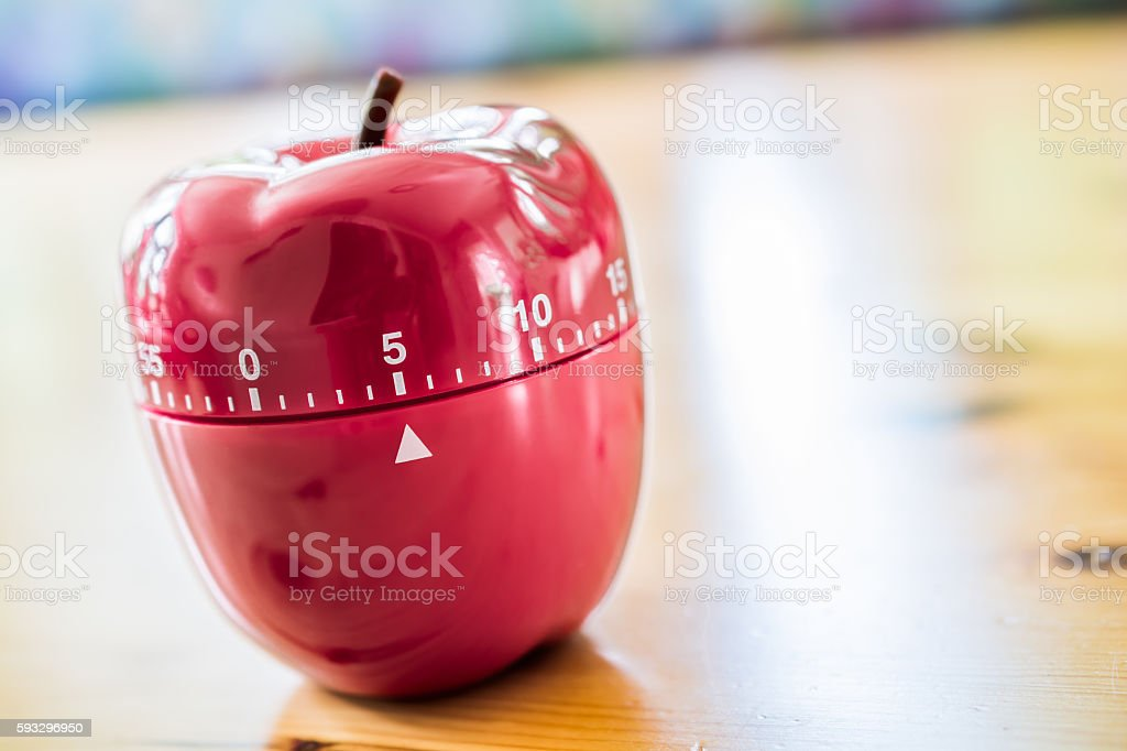 5 Minutes - Kitchen Egg Timer In Apple Shape stock photo