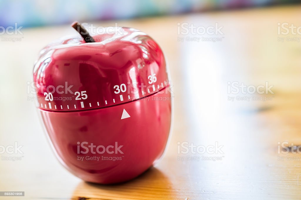 30 Minutes - Kitchen Egg Timer In Apple Shape stock photo