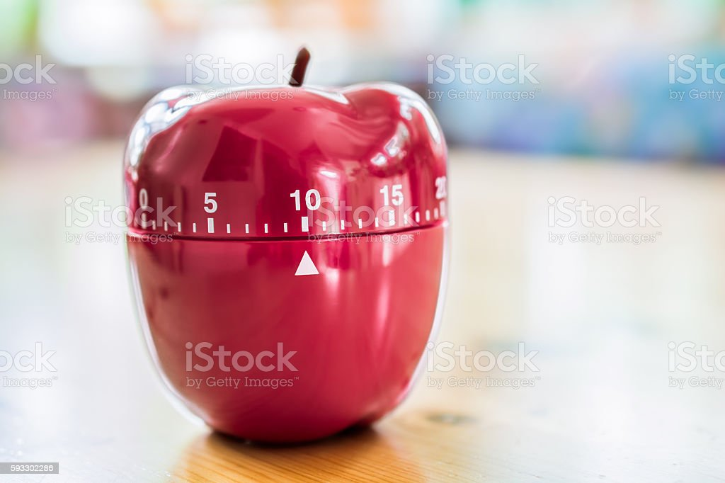 10 Minutes - Kitchen Egg Timer In Apple Shape stock photo