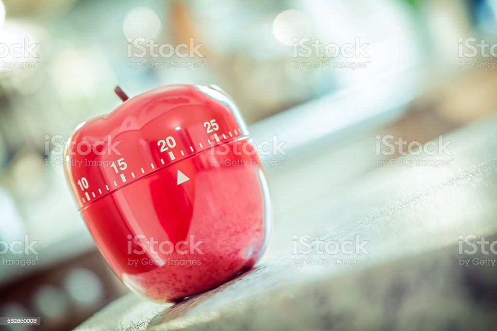 20 Minutes - Red Kitchen Egg Timer In Apple Shape stock photo