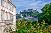 Mirabell Gardens with the Fortress Hohensalzburg in the background, Salzburg, Austria