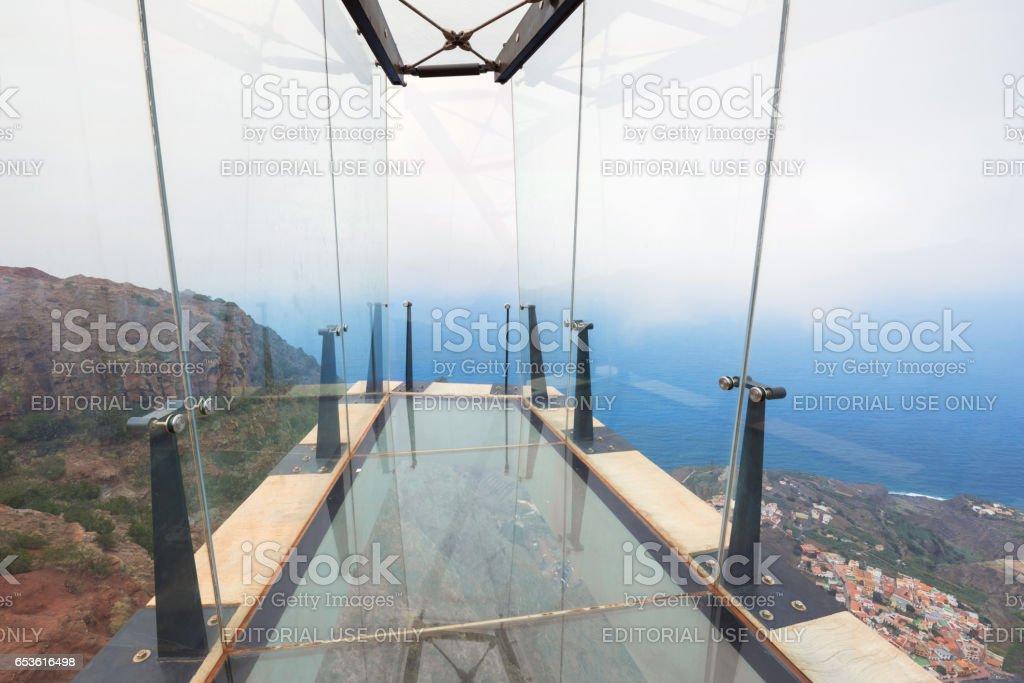 Mirador de Abrante viewpoint with glass observation balcony above Agulo. stock photo