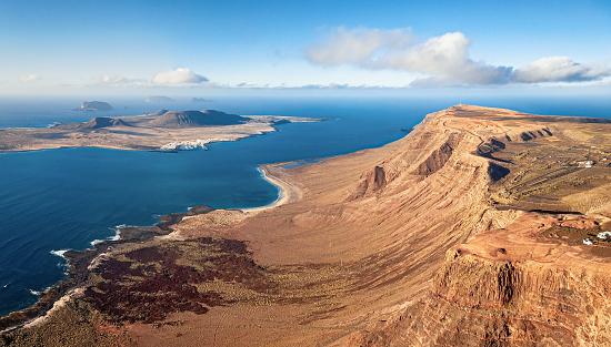 Mirador del Rio viewpoint and La Graciosa island aerial view, Lanzarote, Canary islands