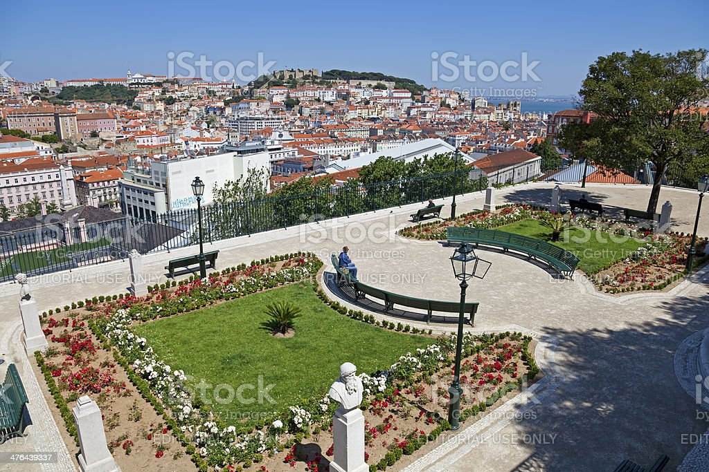 Miradouro de Sao Pedro de Alcantara, Lisbon stock photo