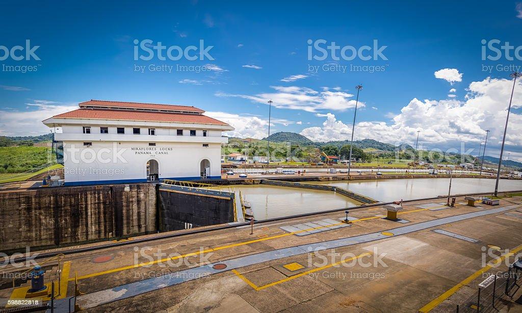 Miraflores Locks at Panama Canal - Panama City, Panama stock photo