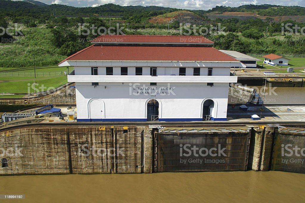 Miraflores locks on the Panama Canal royalty-free stock photo