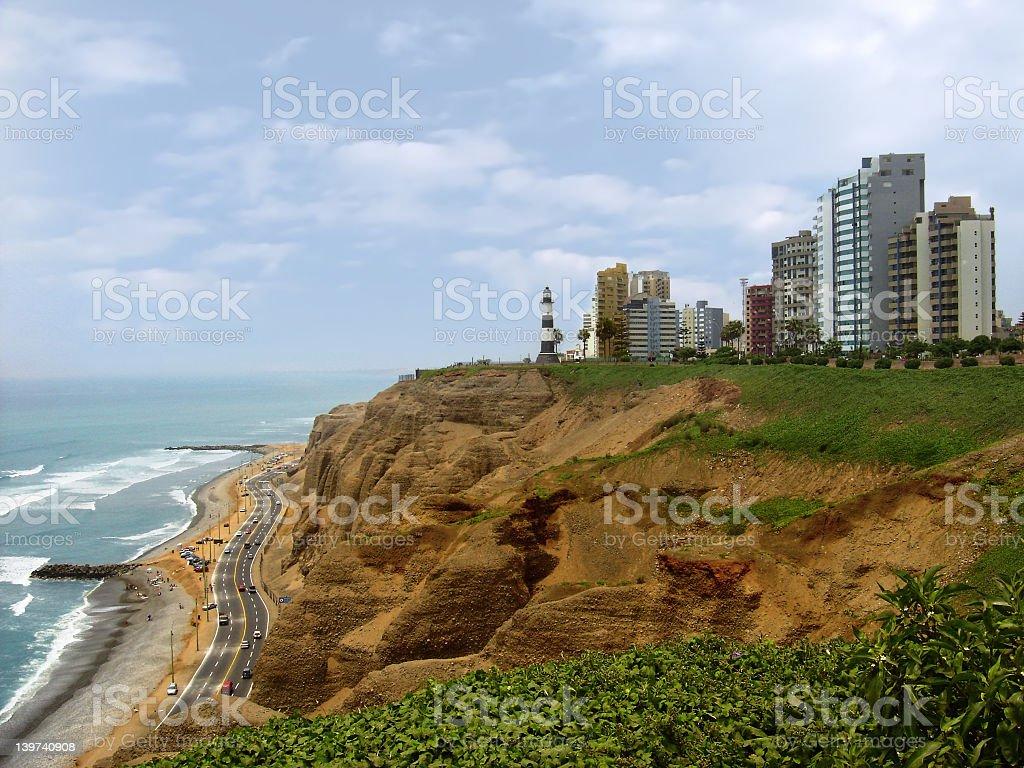 Miraflores Peru cliff cityscape royalty-free stock photo