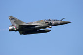 LEEUWARDEN, THE NETHERLANDS - APR 11, 2016: French Air Force Mirage 2000D take off to participate in the exercise Frisian Flag.
