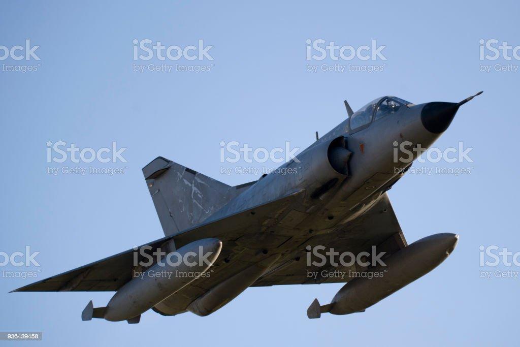 Mirage III Combat Jet in Flight stock photo