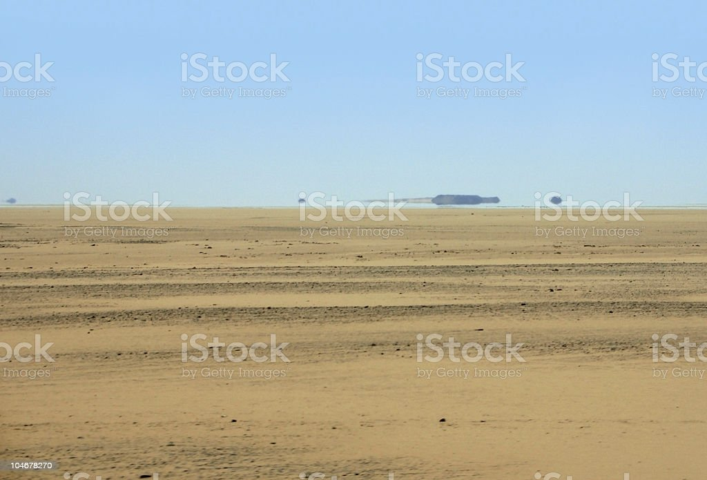 mirage in desert ambiance stock photo