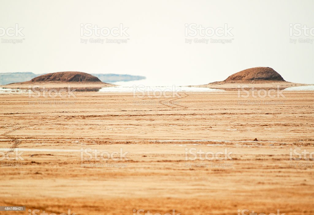 Mirage in Sahara Desert, Tunisia stock photo