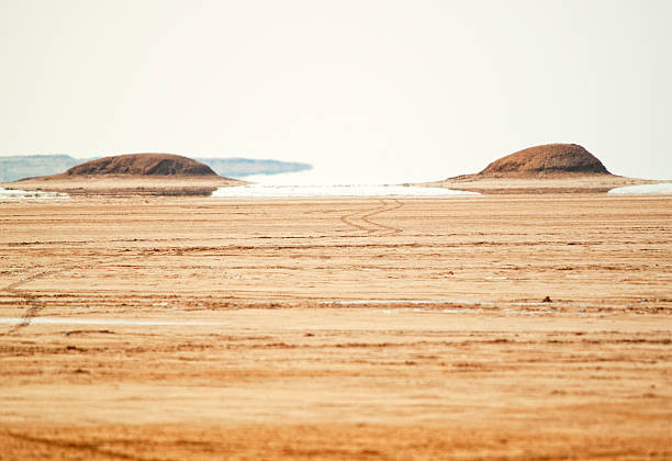 Mirage in Sahara Desert, Tunisia stock photo