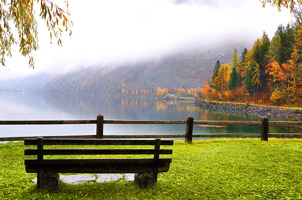 Miralago Lake, Swiss stock photo