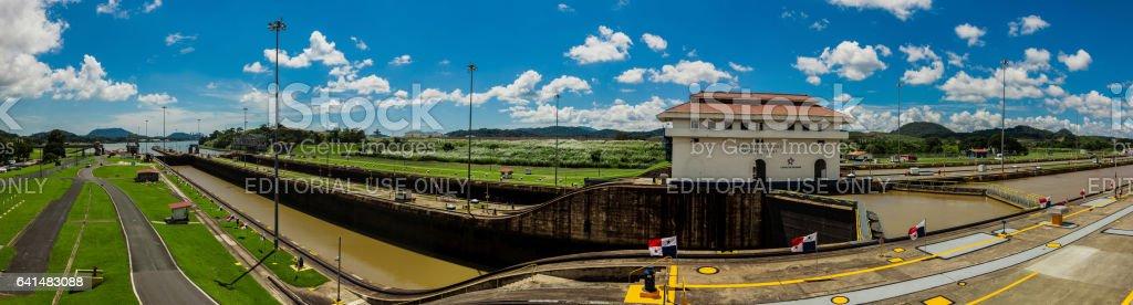 Miralflores locks at the Panama Canal - panorama stock photo