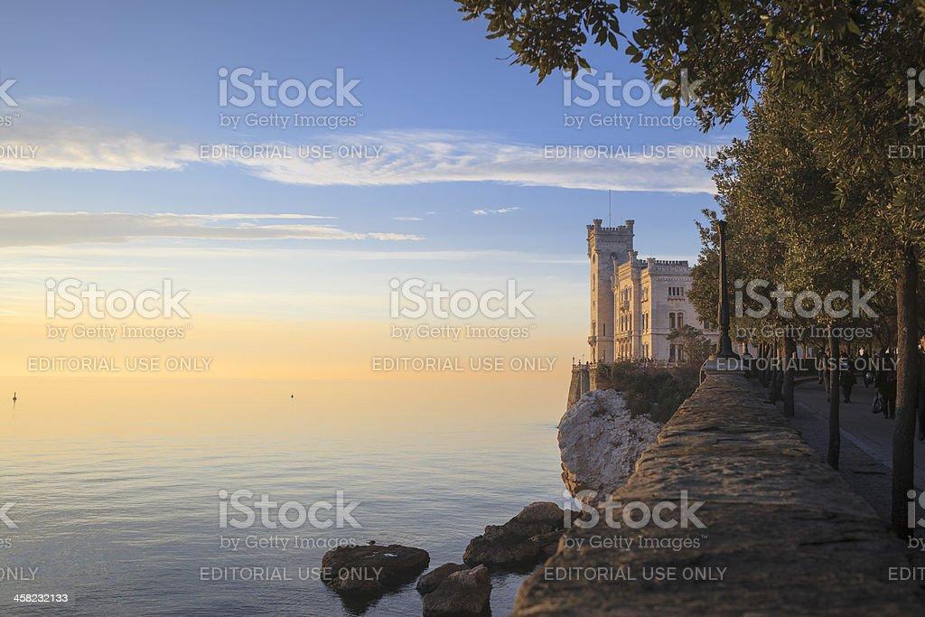 Miramare Castle at sunset , Trieste, Italy stock photo
