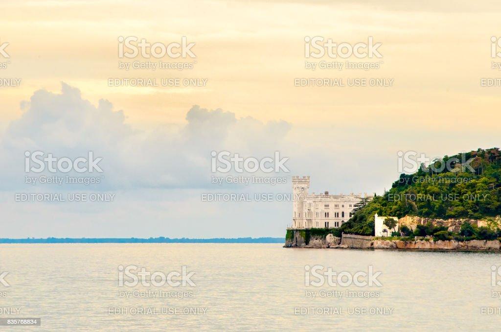 Castello di Miramare Trieste castle landscape sea stock photo