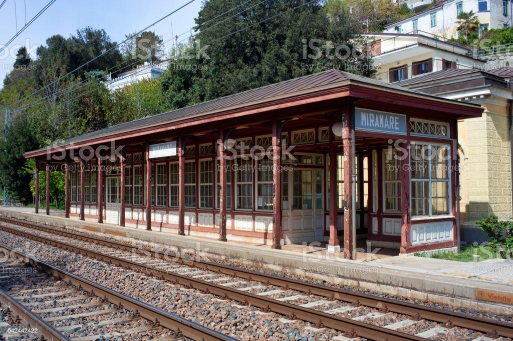 Miramare railroad station stock photo