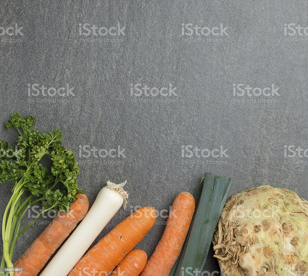 Mirepoix vegetables cooking background stock photo