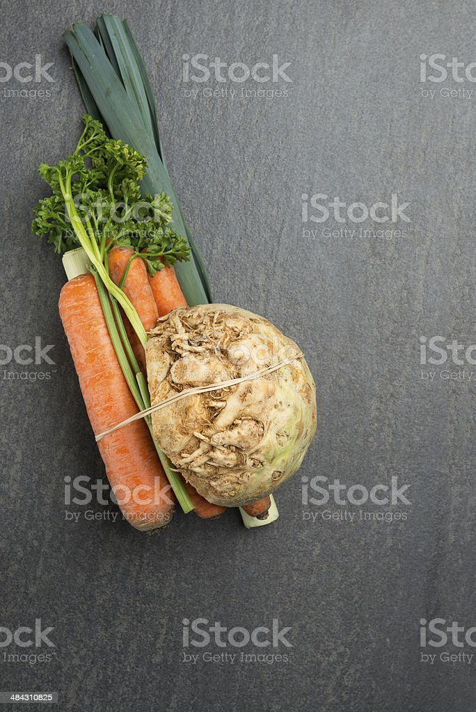 Mirepoix vegetables for soup stock photo
