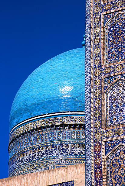 mir-i-arab medressa in buchara, dome - oezbekistan stockfoto's en -beelden