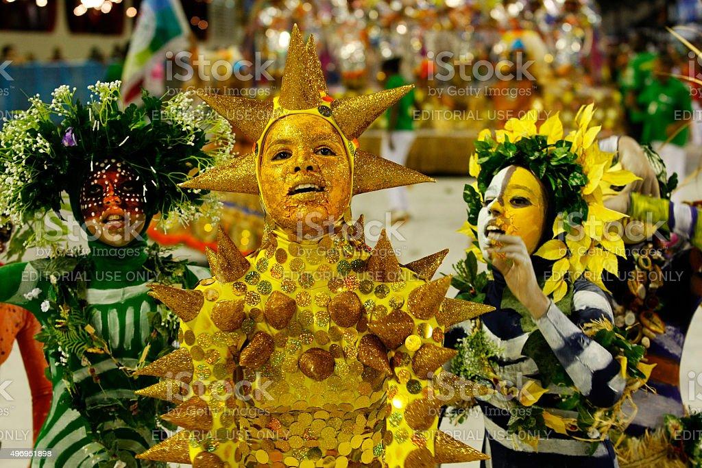 Mirim Samba School presentation in Sambodrome in Rio de Janeiro stock photo