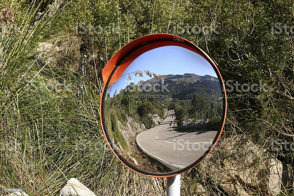 Mirror at a road between Pollensa and Lluc (Majorca, Spain) stock photo