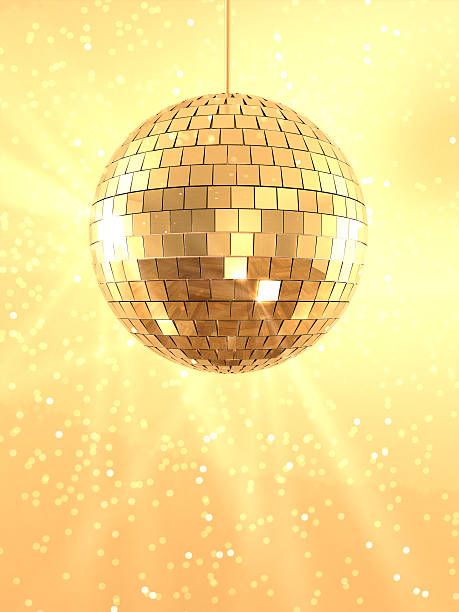 Mirror Ball A mirror ball sparkling on a golden background. Very high resolution 3D render. disco ball stock pictures, royalty-free photos & images