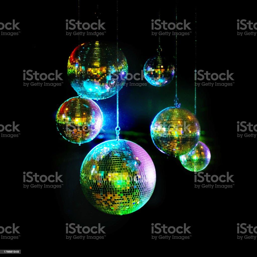 Mirror balls above dance floors royalty-free stock photo