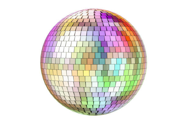 mirror disco ball, 3d rendering isolated on white background - disco ball stock pictures, royalty-free photos & images