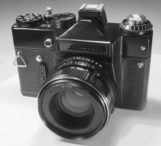 Mirror film camera with external photocell and manual exposure control and interchangeable lenses stock photo