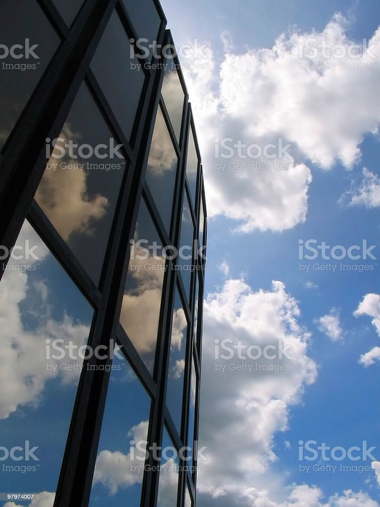 Mirror Glass Business Building Sky Reflection Fluffy Clouds Nobody royalty-free stock photo