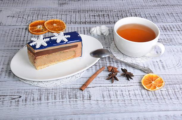 mirror glaze chocolate mousse cake with decoration stock photo