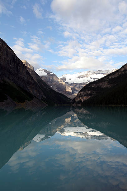 Mirror Image - Lake Louise , portrait. stock photo