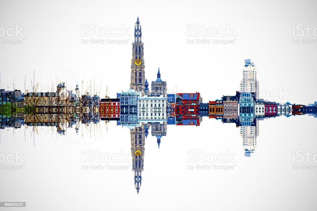 Skyline mirror image HDR d'Anvers, Belgique - Photo