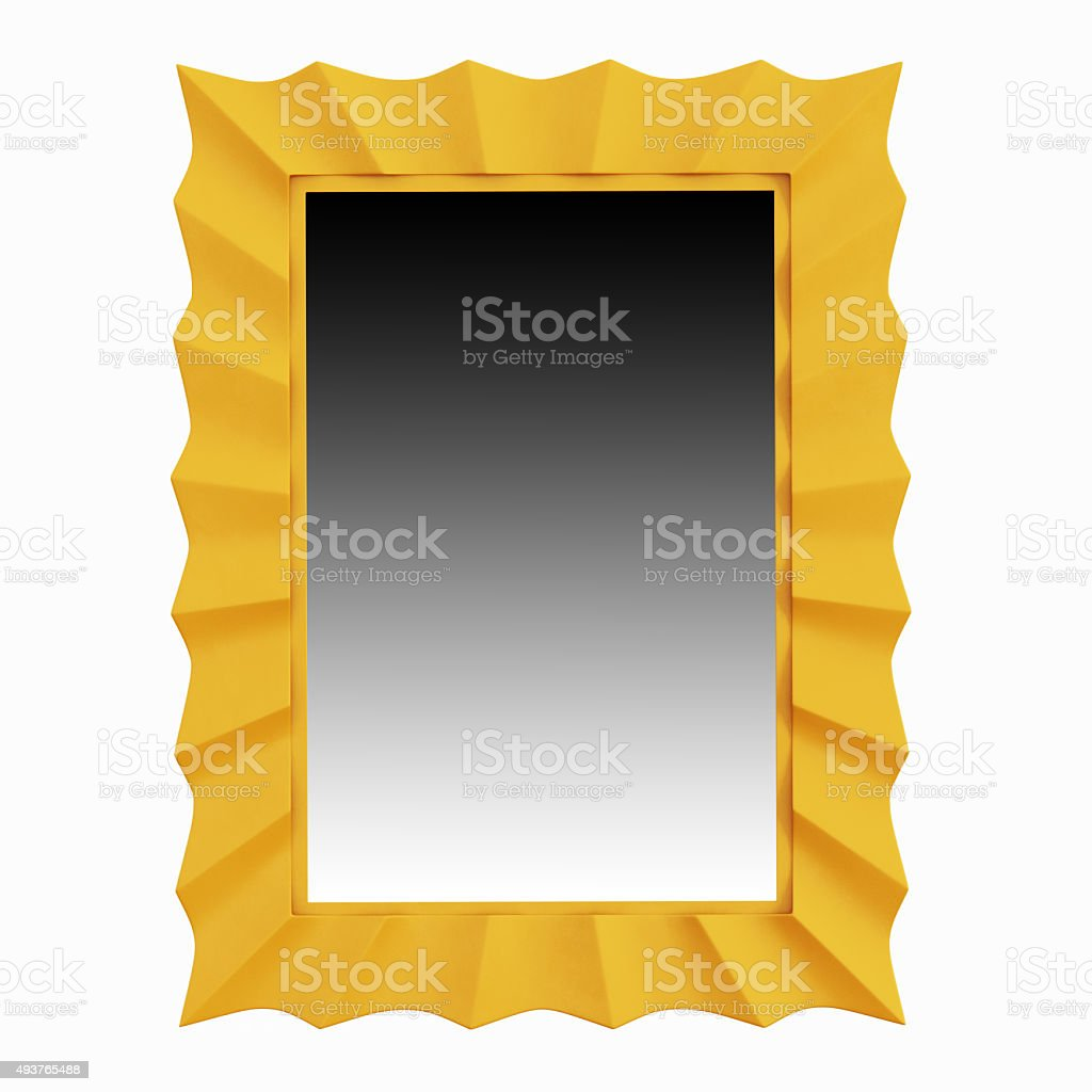 Mirror in a beautiful frame of yellow stock photo