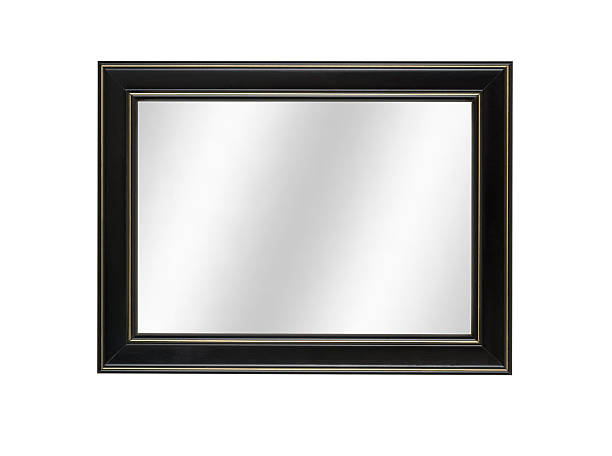 Mirror in Black Picture Frame, Contemporary Style, White Isolated Black picture frame with digital mirror inserted, modern contemporary style, composite image, white isolated. black border stock pictures, royalty-free photos & images