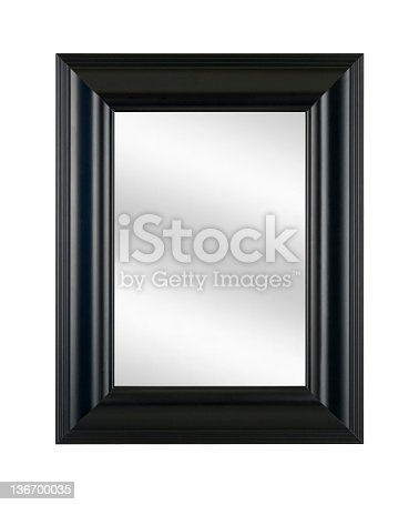 istock Mirror in Black Picture Frame, Modern Style Decor, White Isolated 136700035