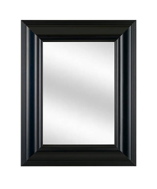 Mirror in Black Picture Frame, Modern Style Decor, White Isolated stock photo