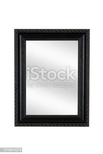 Black picture frame with mirror, white isolated background, graphic designer parts.