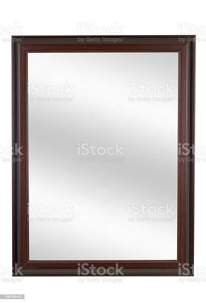Mirror in Brown Picture Frame, Plain, White Isolated stock photo
