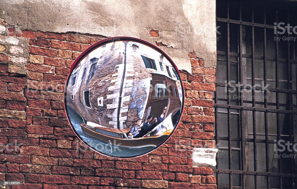 Mirror in Venice Canal, Convex, Safety, View, Brick Wall stock photo