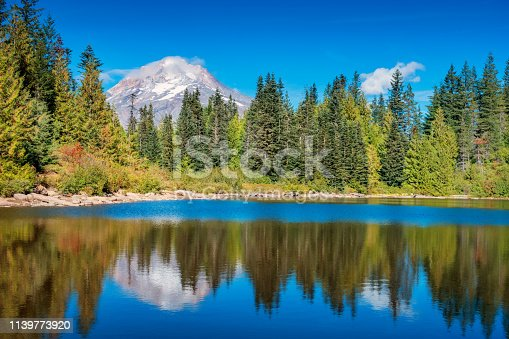 Stock photograph of Mirror Lake and Mount Hood Oregon USA on a sunny day.