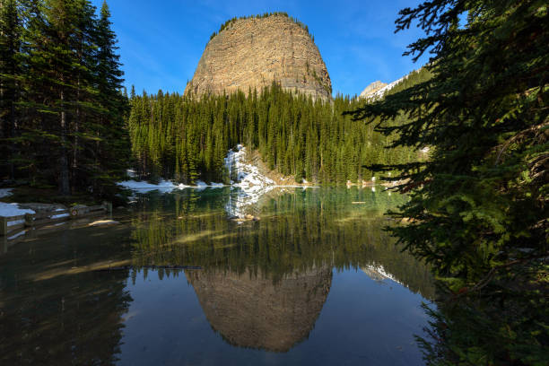 lac miroir randonnée du lac louise au lac agnes parc national de banff, alberta, canada - lac mirror lake photos et images de collection