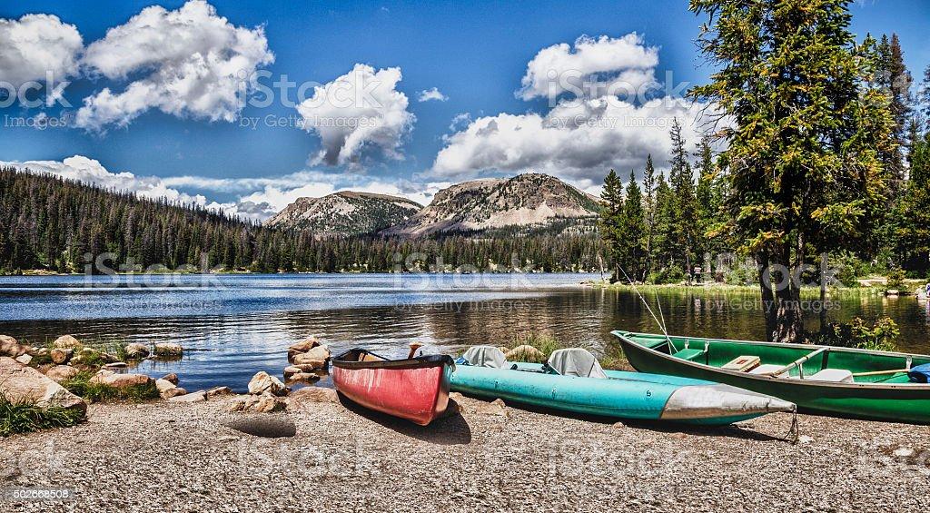 Mirror Lake in the Mountains of Utah stock photo