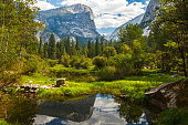Mirror Lake in Yosemite National Park, California, United States in late summer.