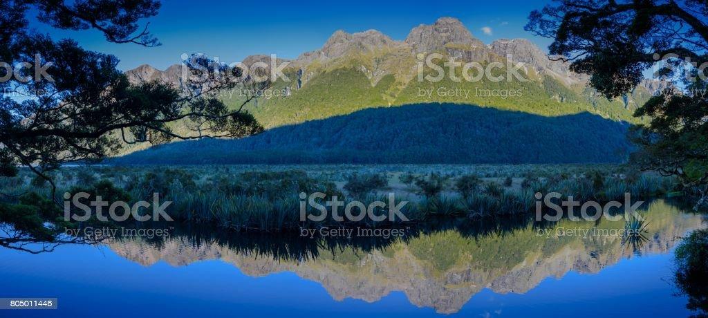 Mirror lake New Zealand stock photo